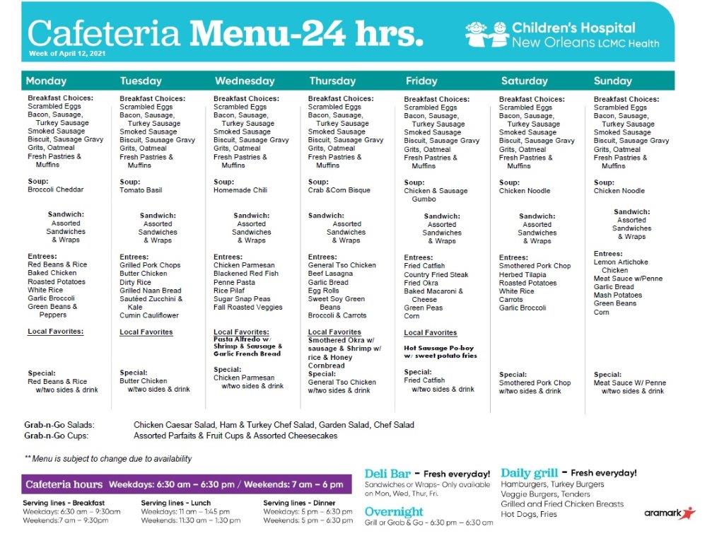 Cafeteria Menu-24 Hours