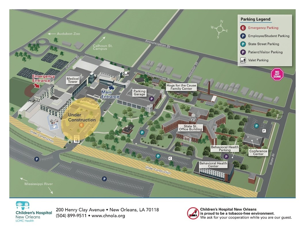 Map of Children's Hospital New Orleans Campus with parking locations marked