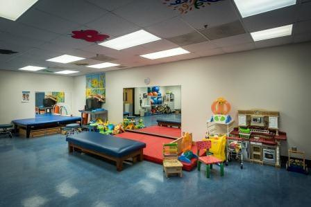 Therapy room with beds, mats and toys