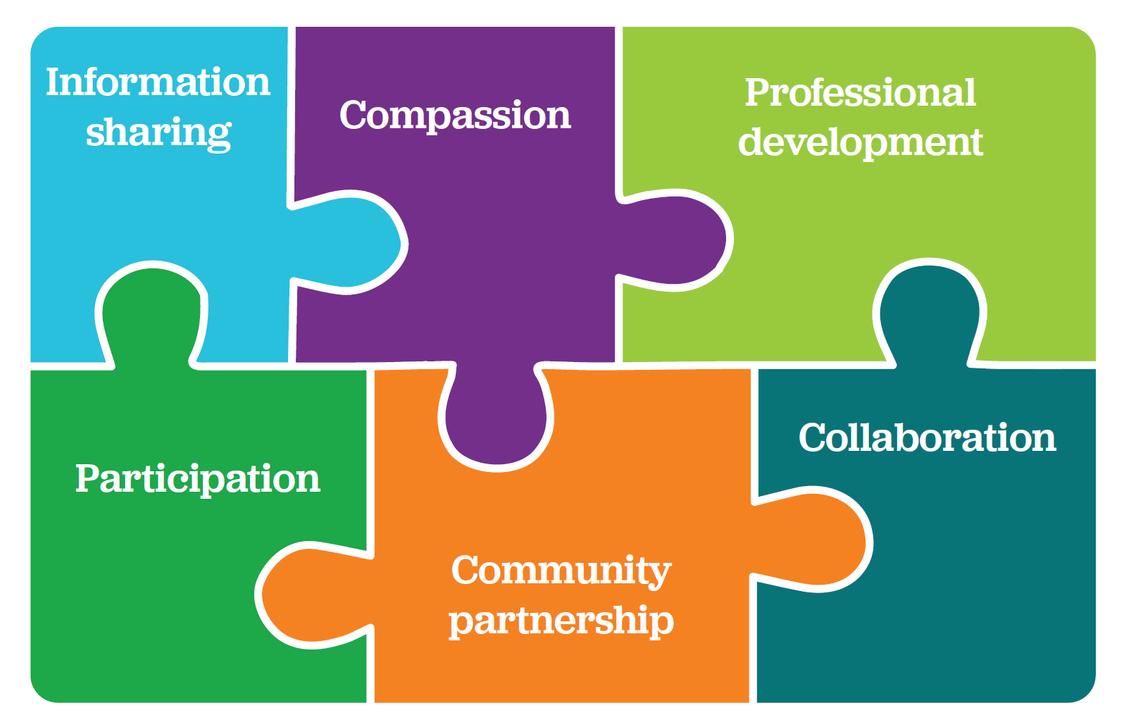 Information Sharing - Compassion - Professional Development - Participation - Community Partnership - Collaboration