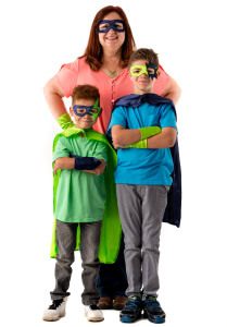 Mother and sons wearing super hero masks